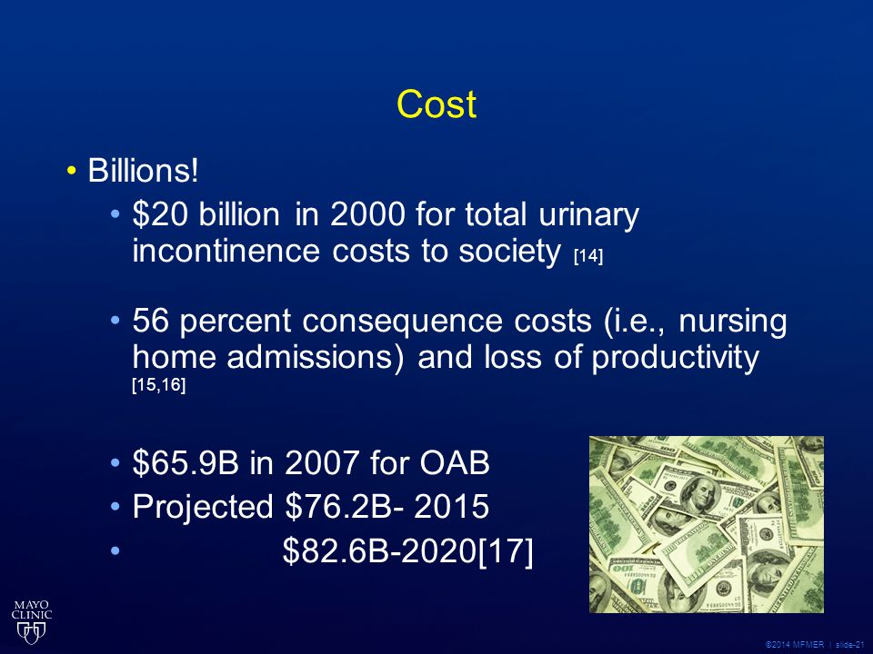 Cost Billions! $20 billion in 2000 for total urinary incontinence costs to society [14]